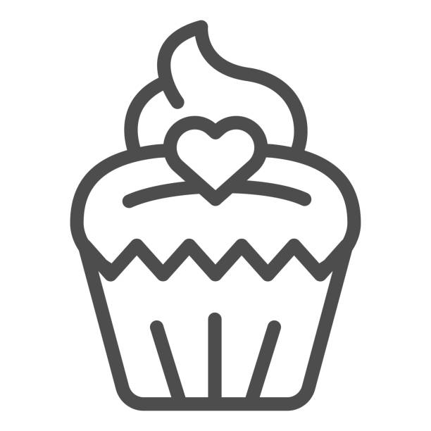 Cupcake line icon. Muffin, sweet dessert bun with heart symbol, outline style pictogram on white background. Bakery shop sign for mobile concept and web design. Vector graphics. Cupcake line icon. Muffin, sweet dessert bun with heart symbol, outline style pictogram on white background. Bakery shop sign for mobile concept and web design. Vector graphics decorating a cake stock illustrations