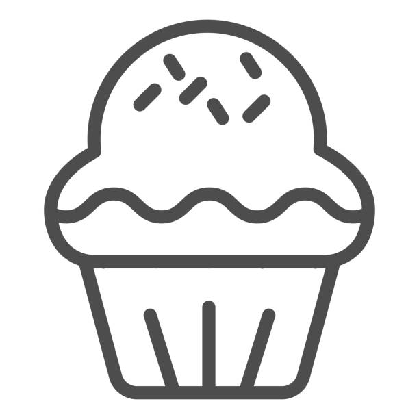 Cupcake line icon. Pastry cake dessert, delicious sweet muffin symbol, outline style pictogram on white background. Bakery shop sign for mobile concept and web design. Vector graphics. Cupcake line icon. Pastry cake dessert, delicious sweet muffin symbol, outline style pictogram on white background. Bakery shop sign for mobile concept and web design. Vector graphics decorating a cake stock illustrations