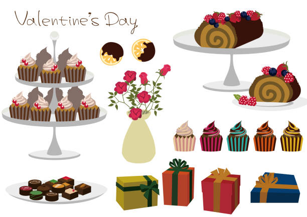 Cupcake material collection. Material collection of chocolate. For Valentine's Day. Chocolate cake. vector art illustration