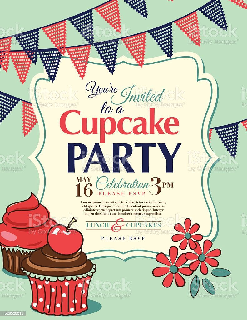 Cupcake Party Invitation Template In Aqua Vertical Stock Vector ...