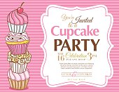 Cupcake Party Invitation horizontal Template on pink striped background.  There are four stacked decorative swirly icing cupcakes on left and the top one has a cherry on top.  The pink and brown invitation text is in on right in a decorative white frame.