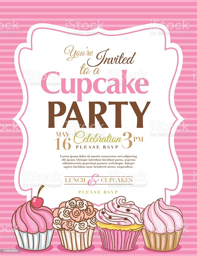 Cupcake Party Invitation Template In Pink Vertical Stock Vector ...