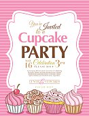 Cupcake Party Invitation vertical Template on pink striped background.  There are four  decorative swirly icing cupcakes along the bottom of the poster farther left one has a cherry on top.  The pink and brown invitation text is above the cupcakes in a decorative white frame.