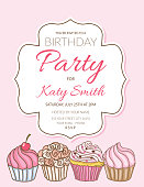 Birthday party invitation with cupcakes