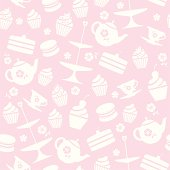 A seamless repeatable pattern of tea and cakes.