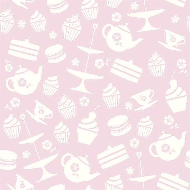 Cupcake Seamless Pattern A seamless repeatable pattern of tea and cakes. cake patterns stock illustrations