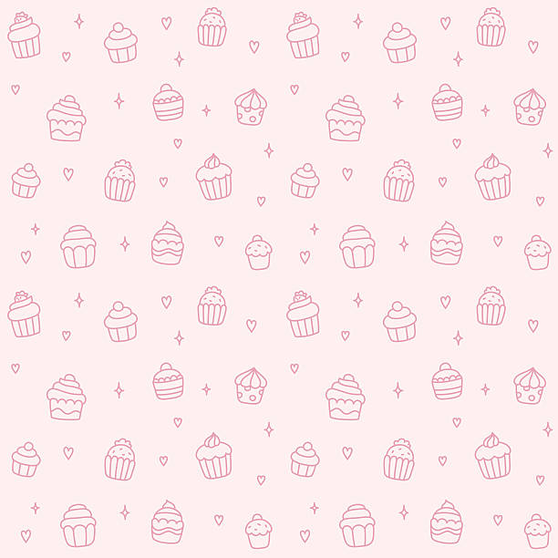 Cupcake seamless pattern Seamless pattern of cute cartoon hand drawn cupcakes. cake patterns stock illustrations