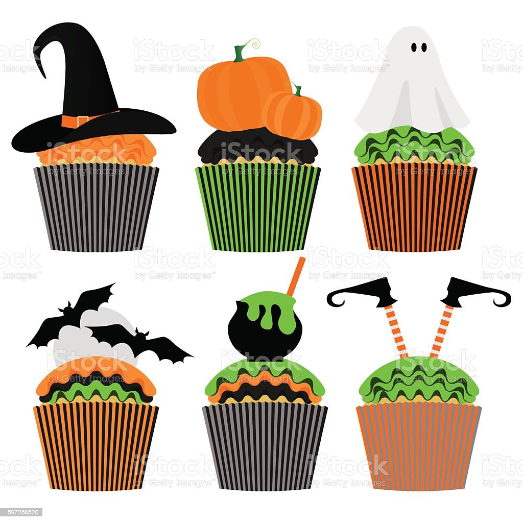 Cupcake set. Happy Halloween Sweets. Party Invitation royalty-free cupcake set happy halloween sweets party invitation stock illustration - download image now