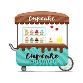 Cupcake street food cart. Colorful vector image