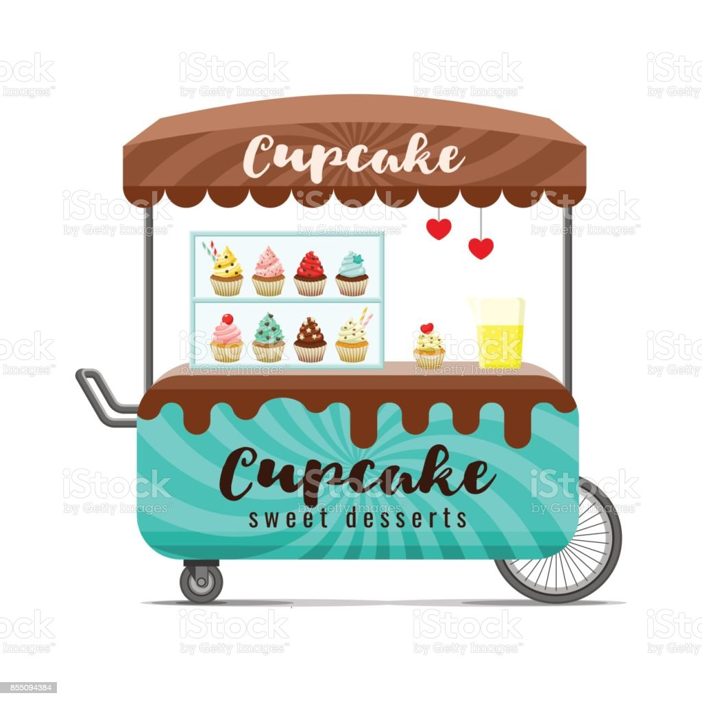 Cupcake street food cart. Colorful vector image vector art illustration