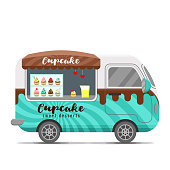 Cupcake street food vector caravan trailer