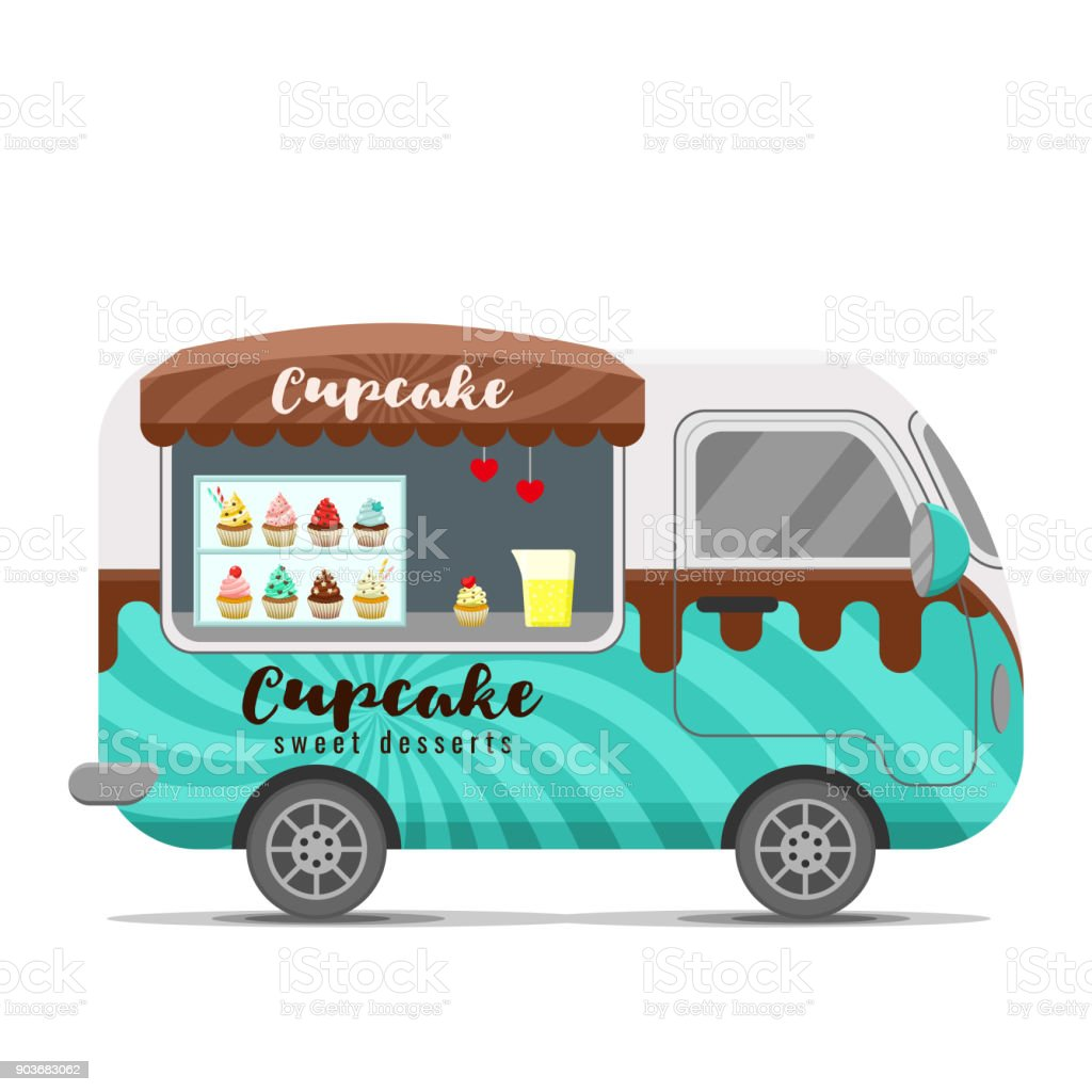 Cupcake street food vector caravan trailer vector art illustration