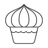 Cupcake thin line icon, dessert concept, Muffin sign on white background, sweet creamy cupcake icon in outline style for mobile concept and web design. Vector graphics