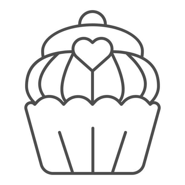 Cupcake thin line icon. Muffin, sweet bakery dessert with heart symbol, outline style pictogram on white background. Bakery shop sign for mobile concept and web design. Vector graphics. Cupcake thin line icon. Muffin, sweet bakery dessert with heart symbol, outline style pictogram on white background. Bakery shop sign for mobile concept and web design. Vector graphics decorating a cake stock illustrations