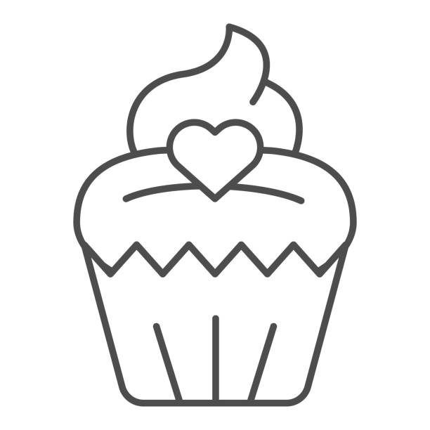 Cupcake thin line icon. Muffin, sweet dessert bun with heart symbol, outline style pictogram on white background. Bakery shop sign for mobile concept and web design. Vector graphics. Cupcake thin line icon. Muffin, sweet dessert bun with heart symbol, outline style pictogram on white background. Bakery shop sign for mobile concept and web design. Vector graphics decorating a cake stock illustrations