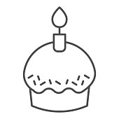 Cupcake thin line icon. Party holiday or Easter muffin with burning candle. Happy Birthday vector design concept, outline style pictogram on white background, use for web and app. Eps 10