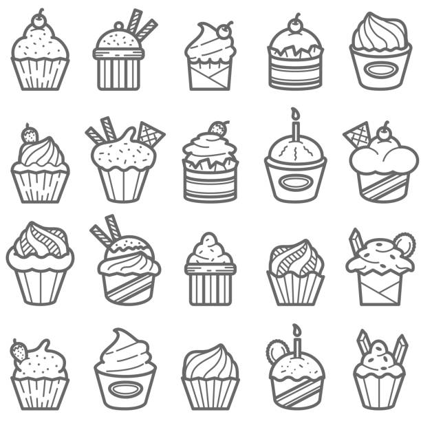 Cupcake Various Style Prominent Line Icons Set vector art illustration