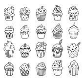 Cupcake Doodles Set. Vector illustration.