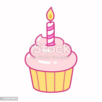 Cute pink cupcake with birthday candle, cartoon drawing. Isolated vector illustration.