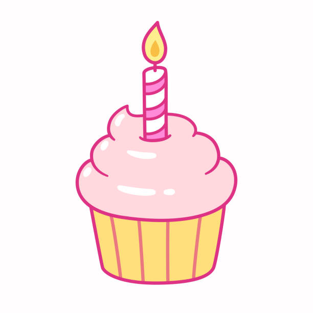 Cupcake with birthday candle Cute pink cupcake with birthday candle, cartoon drawing. Isolated vector illustration. cupcake stock illustrations