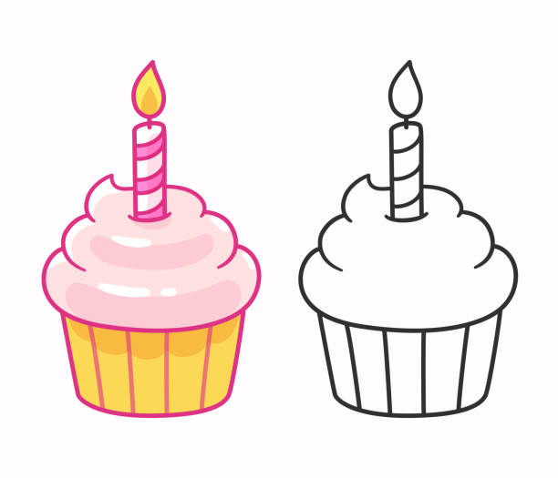Cupcake with birthday candle Cartoon cupcake drawing with birthday candle, line art and color. Isolated vector illustration. cupcake stock illustrations