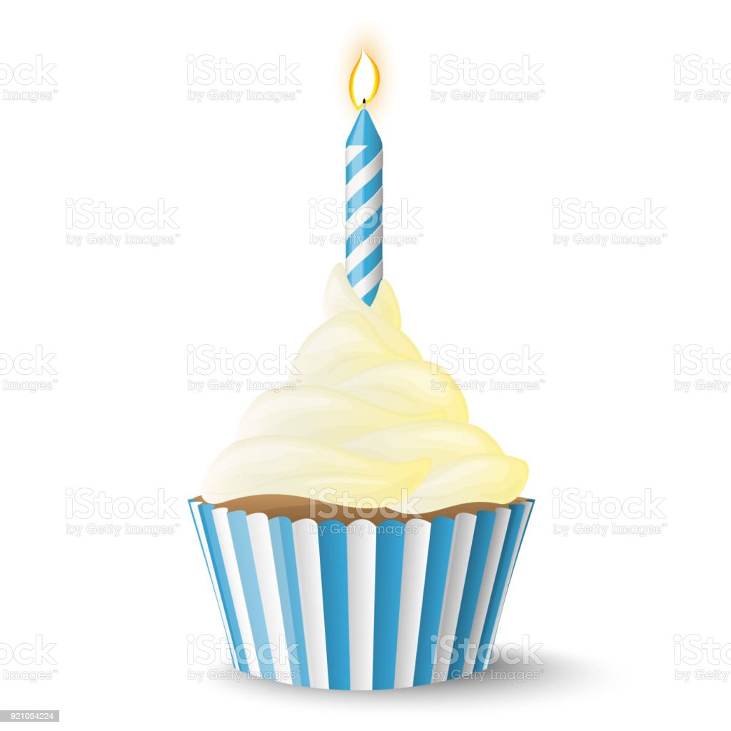cupcake with candle vector art illustration