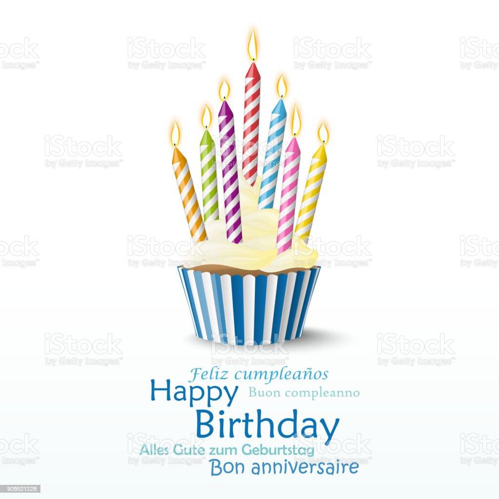 cupcake mit Kerzen – Vektorgrafik