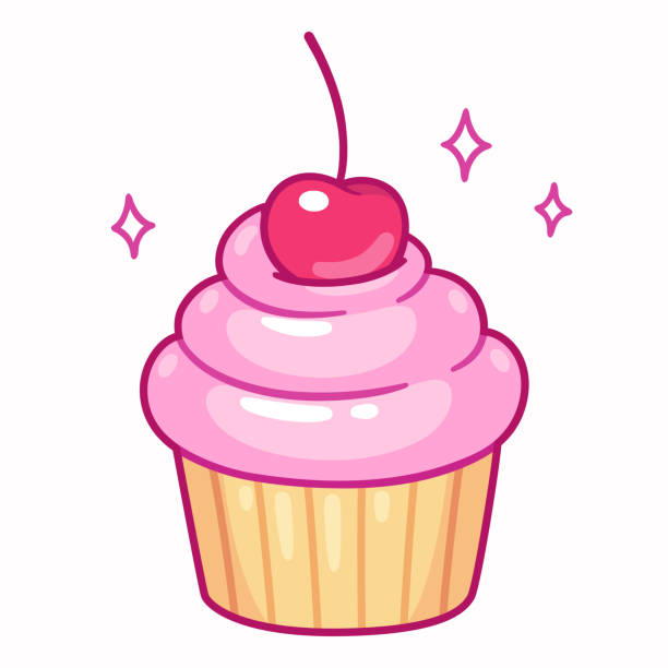 Cupcake with cherry Cute cupcake with pink frosting and cherry, cartoon drawing. Isolated vector illustration. cupcake stock illustrations
