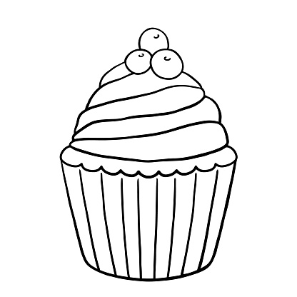 Cupcake with cream and berries