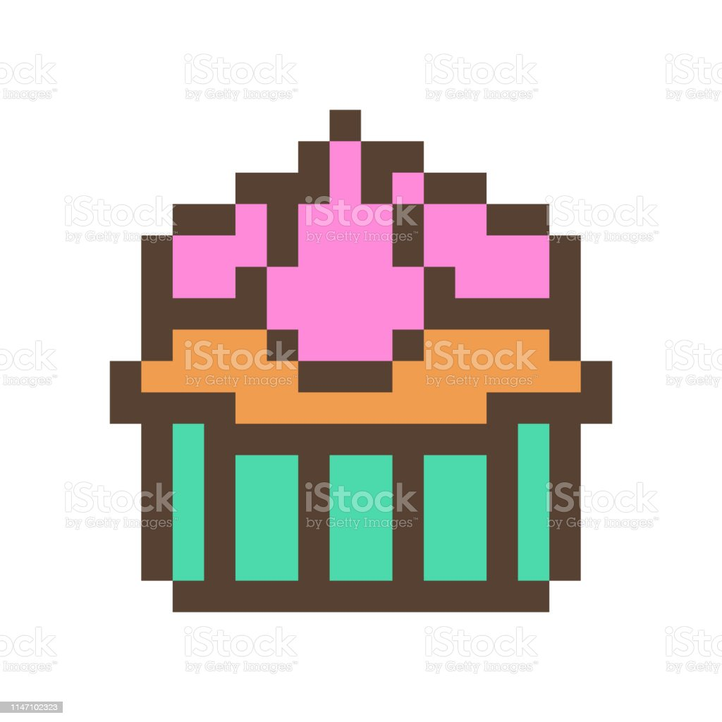 Cupcake With Cream Icing In A Baking Cup 16x16 Pixel Art