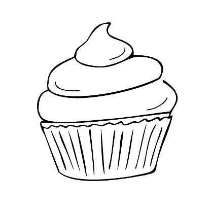 Cupcake with cream, individually wrapped. Cupcake, muffin. Confectionery. Contour drawing by hand, vector.