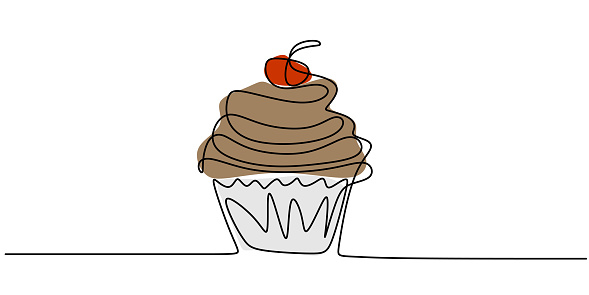 Cupcake with decoration and cherry continuous line drawing element isolated on white background. Cream dessert with cherry hand drawing art dessert theme. Vector illustration of sweet dessert