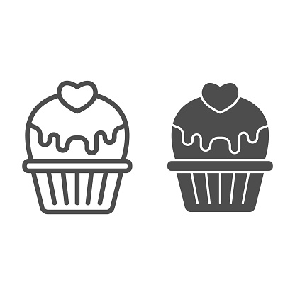 Cupcake with heart and glaze line and solid icon, valentine day concept, muffin with icing sign on white background, cake with love icon in outline style for mobile concept. Vector graphics.