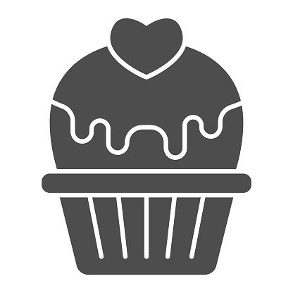 Cupcake with heart and glaze solid icon, valentine day concept, muffin with icing sign on white background, cake with love icon in glyph style for mobile concept. Vector graphics.