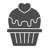 Cupcake with heart and glaze solid icon, valentine day concept, muffin with icing sign on white background, cake with love icon in glyph style for mobile concept. Vector graphics