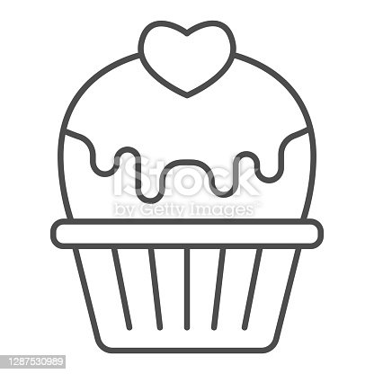 istock Cupcake with heart and glaze thin line icon, valentine day concept, muffin with icing sign on white background, cake with love icon in outline style for mobile concept. Vector graphics. 1287530989