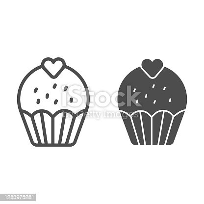 Cupcake with heart line and solid icon, Birthday cupcake concept, Sweet pastry sign on white background, Valentine day cup cake icon in outline style for mobile concept, web design. Vector graphics