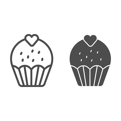 Cupcake with heart line and solid icon, Birthday cupcake concept, Sweet pastry sign on white background, Valentine day cup cake icon in outline style for mobile concept, web design. Vector graphics.