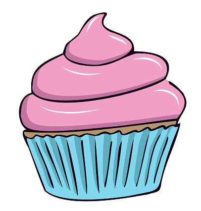 Cupcake with pink cream in individual blue packaging. Cupcake, muffin. Confectionery. Color isolated image with dark outline.