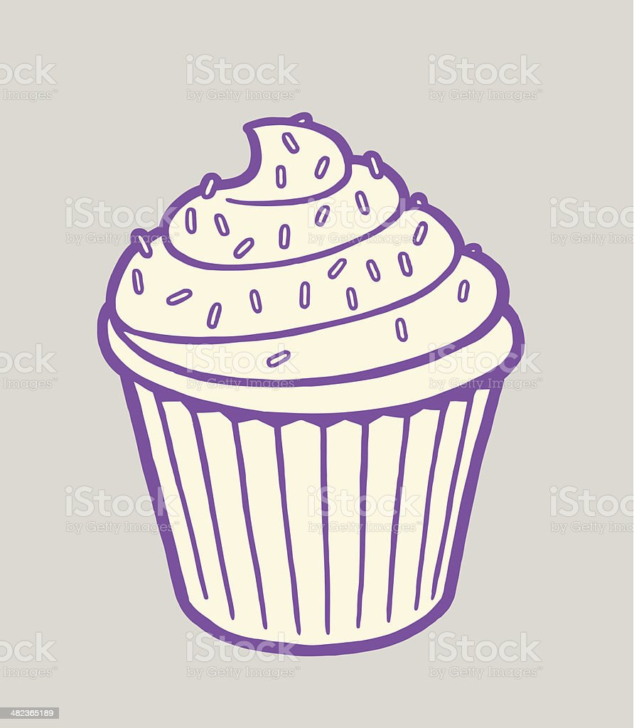Cupcake With Sprinkles on Top vector art illustration