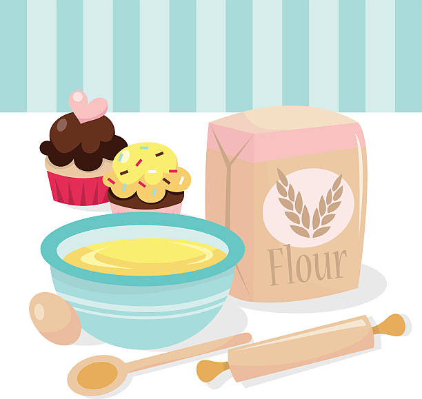cupcakes baking scene - mixing bowl stock illustrations, clip art, cartoons, & icons