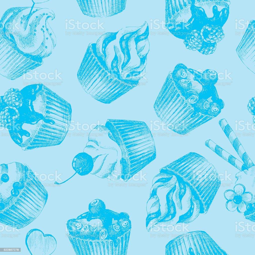 Cupcakes Azul Motivo Homogeneo Arte Vetorial De Stock E Mais