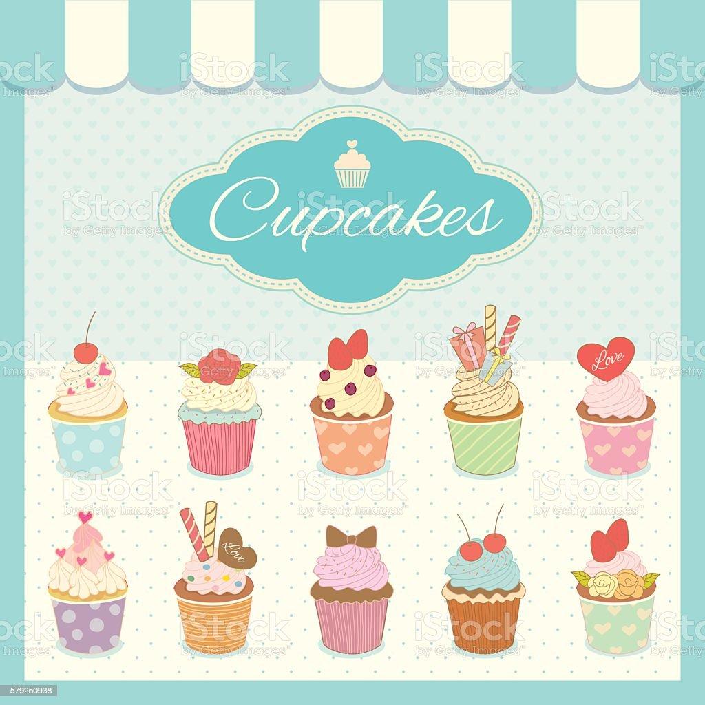 cupcakes cafe cyan vector art illustration