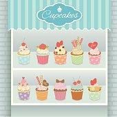 Illustration vector various cupcakes menu display on shelf in showcase of cyan cafe shop.