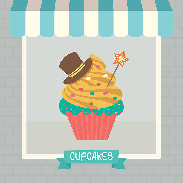 cupcakes cyan cafe vector art illustration - Cyan Cafe Interior
