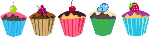 cupcakes desert with fruits vector art illustration