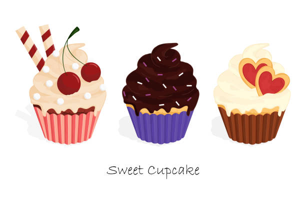 cupcakes food sweet set eps 10 vector illustration – artystyczna grafika wektorowa