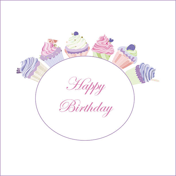Cupcakes happy birthday vector art illustration