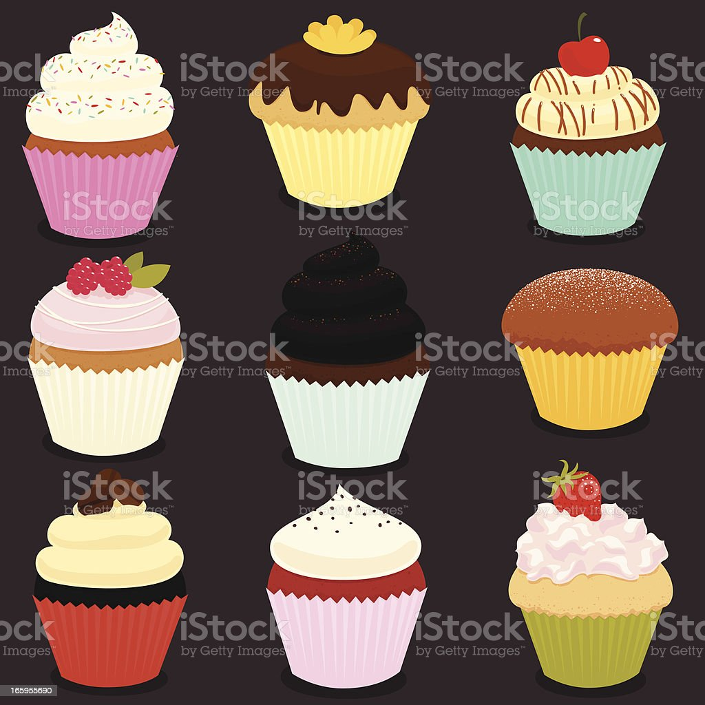Cupcakes icon set - EPS8 vector art illustration