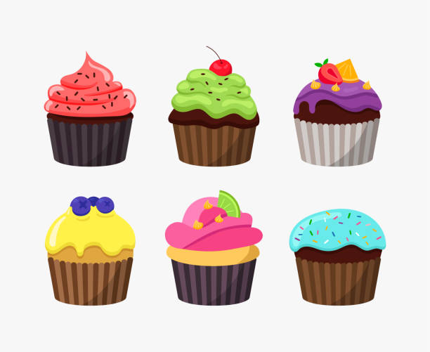 Cupcakes in cartoon flat design isolated on white background. Cute tasty cakes vector colorful illustration. Cupcakes in cartoon flat design isolated on white background. Cute tasty cakes vector colorful illustration cupcake stock illustrations